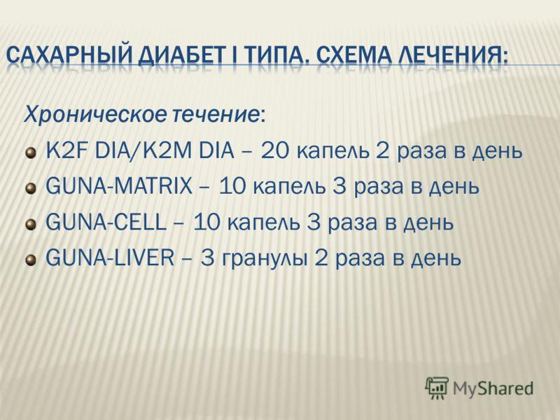 Хроническое течение: K2F DIA/K2M DIA – 20 капель 2 раза в день GUNA-MATRIX – 10 капель 3 раза в день GUNA-CELL – 10 капель 3 раза в день GUNA-LIVER – 3 гранулы 2 раза в день