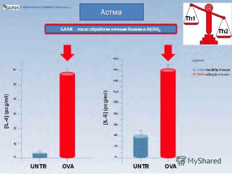 Астма БАЛЖ – после обработки яичным белком и Al(OH) 3