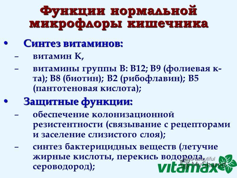 Функции нормальной микрофлоры кишечника Синтез витаминов: Синтез витаминов: – витамин К, – витамины группы В: В12; В9 (фолиевая к- та); В8 (биотин); В2 (рибофлавин); В5 (пантотеновая кислота); Защитные функции: Защитные функции: – обеспечение колониз