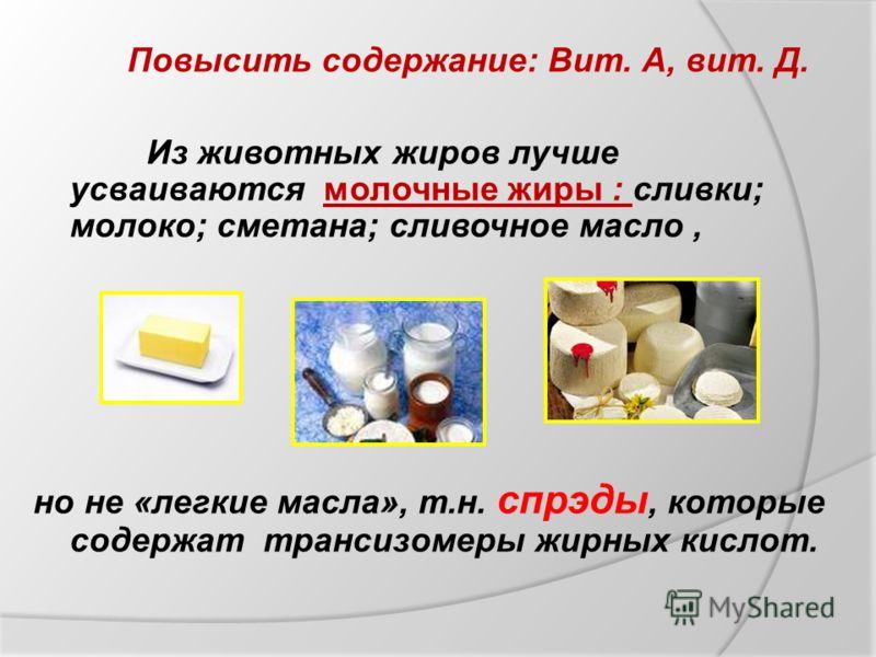 Из животных жиров лучше усваиваются молочные жиры : сливки; молоко; сметана; сливочное масло, но не «легкие масла», т.н. спрэды, которые содержат трансизомеры жирных кислот. Повысить содержание: Вит. А, вит. Д.