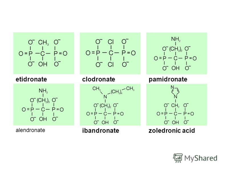 etidronatepamidronateclodronate alendronate zoledronic acidibandronate