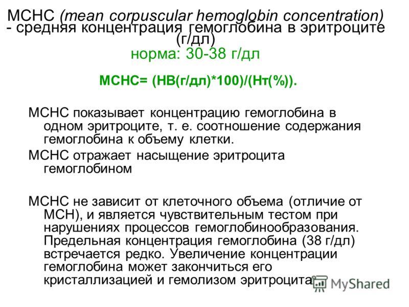 МСНС (mean corpuscular hemoglobin concentration) - средняя концентрация гемоглобина в эритроците (г/дл) норма: 30-38 г/дл МСНС показывает концентрацию гемоглобина в одном эритроците, т. е. соотношение содержания гемоглобина к объему клетки. МСНС отра