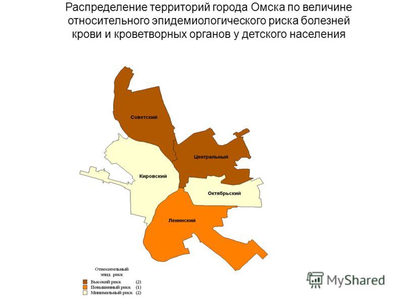 Распределение территорий города Омска по величине относительного эпидемиологического риска болезней крови и кроветворных органов у детского населения