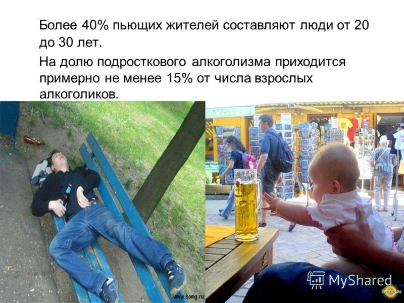 Более 40% пьющих жителей составляют люди от 20 до 30 лет. На долю подросткового алкоголизма приходится примерно не менее 15% от числа взрослых алкоголиков.