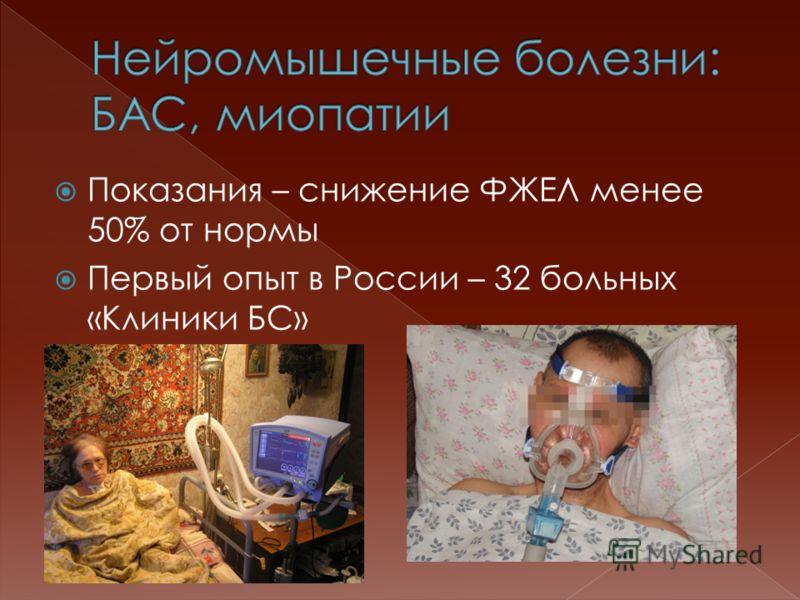 Показания – снижение ФЖЕЛ менее 50% от нормы Первый опыт в России – 32 больных «Клиники БС»