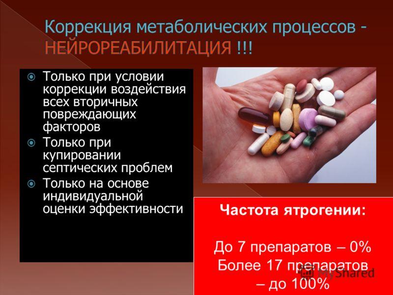 Только при условии коррекции воздействия всех вторичных повреждающих факторов Только при купировании септических проблем Только на основе индивидуальной оценки эффективности Частота ятрогении: До 7 препаратов – 0% Более 17 препаратов – до 100%