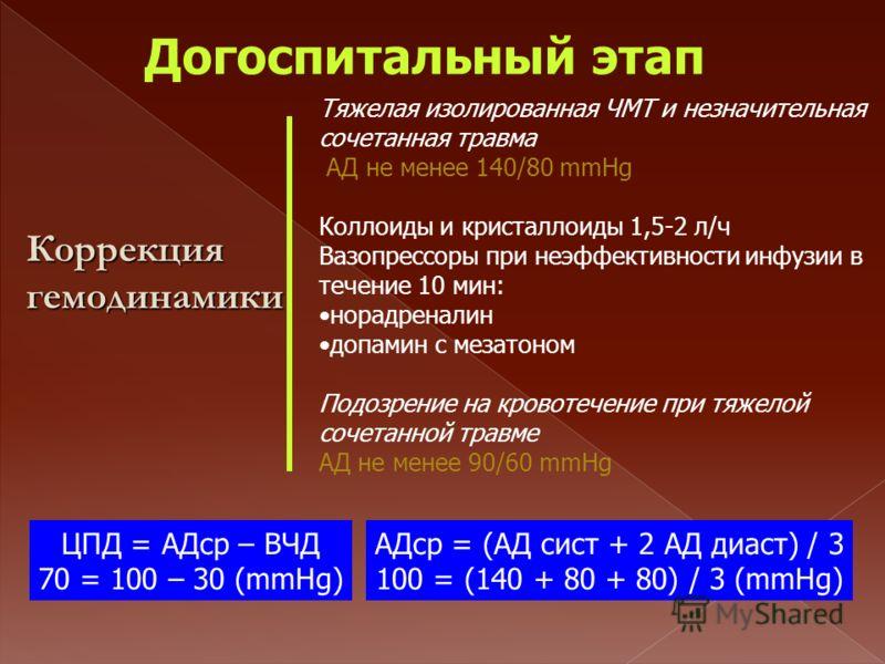 Догоспитальный этап Тяжелая изолированная ЧМТ и незначительная сочетанная травма АД не менее 140/80 mmHg Коллоиды и кристаллоиды 1,5-2 л/ч Вазопрессоры при неэффективности инфузии в течение 10 мин: норадреналин допамин с мезатоном Подозрение на крово