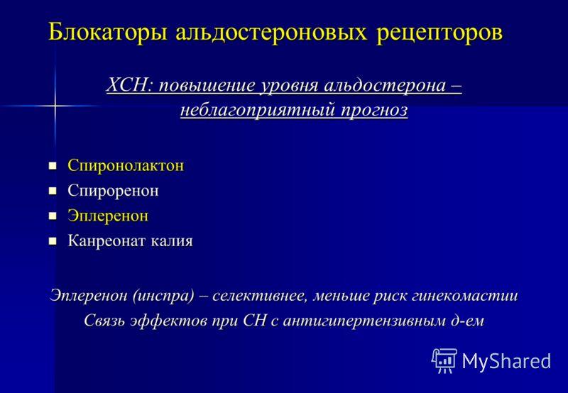 Блокаторы альдостероновых рецепторов ХСН: повышение уровня альдостерона – неблагоприятный прогноз Спиронолактон Спиронолактон Спироренон Спироренон Эплеренон Эплеренон Канреонат калия Канреонат калия Эплеренон (инспра) – селективнее, меньше риск гине