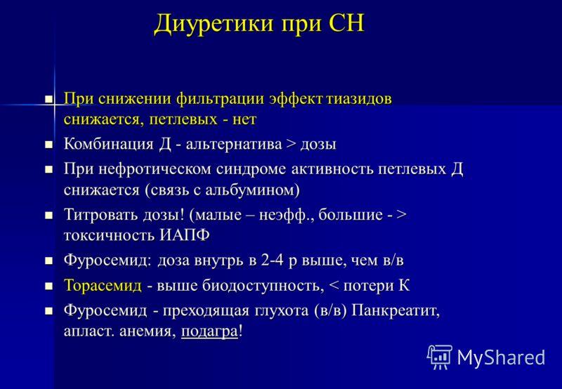 Диуретики при СН При снижении фильтрации эффект тиазидов снижается, петлевых - нет При снижении фильтрации эффект тиазидов снижается, петлевых - нет Комбинация Д - альтернатива > дозы Комбинация Д - альтернатива > дозы При нефротическом синдроме акти