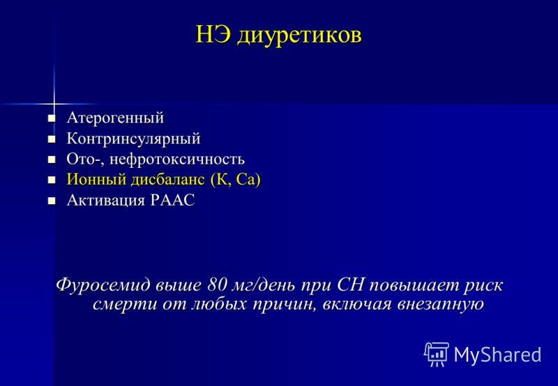 НЭ диуретиков Атерогенный Атерогенный Контринсулярный Контринсулярный Ото-, нефротоксичность Ото-, нефротоксичность Ионный дисбаланс (К, Са) Ионный дисбаланс (К, Са) Активация РААС Активация РААС Фуросемид выше 80 мг/день при СН повышает риск смерти