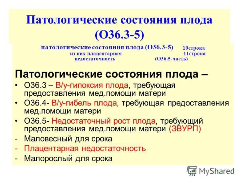 Патологические состояния плода (О36.3-5) патологические состояния плода (О36.3-5) 10строка из них плацентарная 11строка недостаточность (О36.5-часть) Патологические состояния плода – О36.3 – В/у-гипоксия плода, требующая предоставления мед.помощи мат