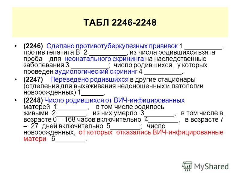 ТАБЛ 2246-2248 (2246) Сделано противотуберкулезных прививок 1 __________, против гепатита В 2 __________; из числа родившихся взята проба для неонатального скрининга на наследственные заболевания 3 __________; число родившихся, у которых проведен ауд