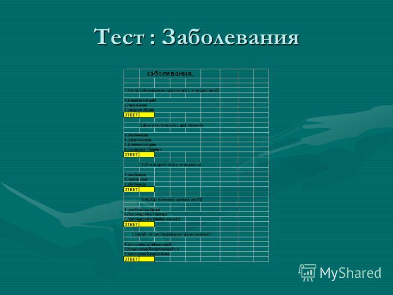 Тест : Заболевания