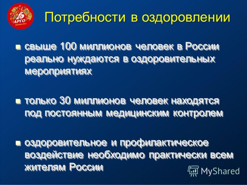 свыше 100 миллионов человек в России реально нуждаются в оздоровительных мероприятиях свыше 100 миллионов человек в России реально нуждаются в оздоровительных мероприятиях только 30 миллионов человек находятся под постоянным медицинским контролем тол