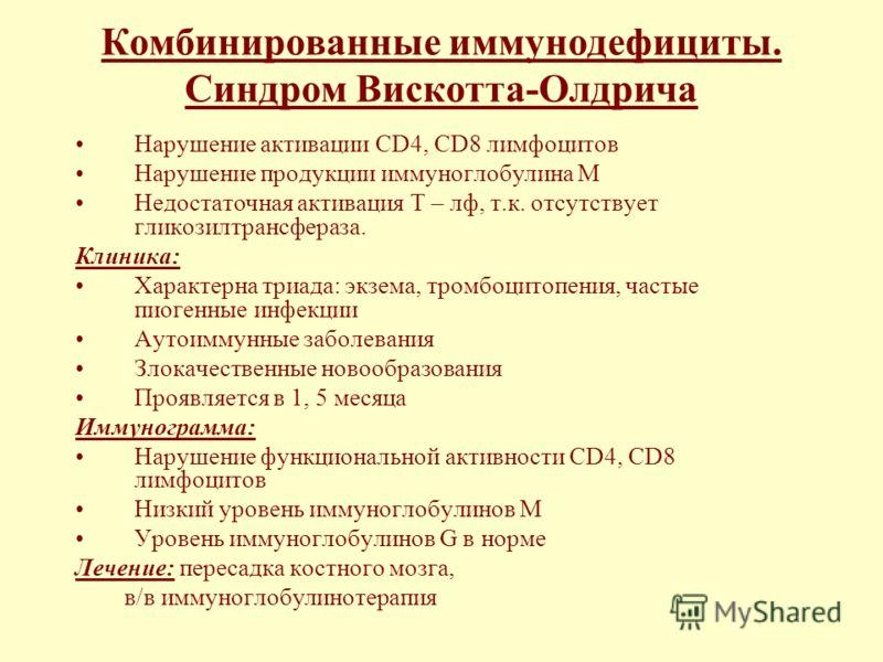 Комбинированные иммунодефициты. Синдром Вискотта-Олдрича Нарушение активации СD4, СD8 лимфоцитов Нарушение продукции иммуноглобулина М Недостаточная активация Т – лф, т.к. отсутствует гликозилтрансфераза. Клиника: Характерна триада: экзема, тромбоцит