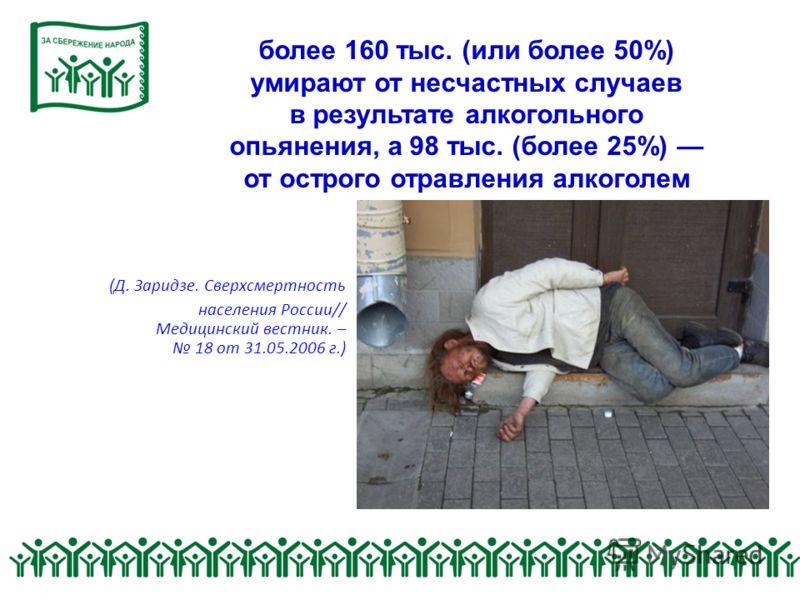 более 160 тыс. (или более 50%) умирают от несчастных случаев в результате алкогольного опьянения, а 98 тыс. (более 25%) от острого отравления алкоголем (Д. Заридзе. Сверхсмертность населения России// Медицинский вестник. – 18 от 31.05.2006 г.)