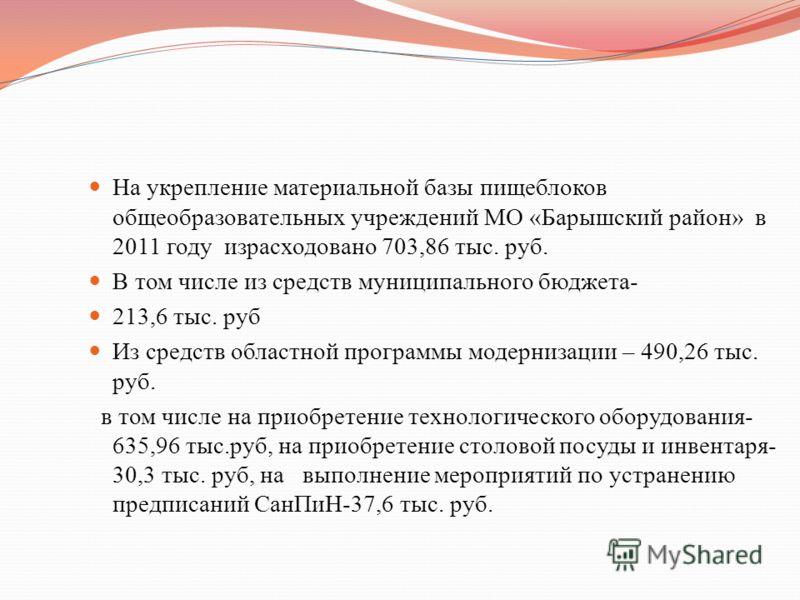 На укрепление материальной базы пищеблоков общеобразовательных учреждений МО «Барышский район» в 2011 году израсходовано 703,86 тыс. руб. В том числе из средств муниципального бюджета- 213,6 тыс. руб Из средств областной программы модернизации – 490,