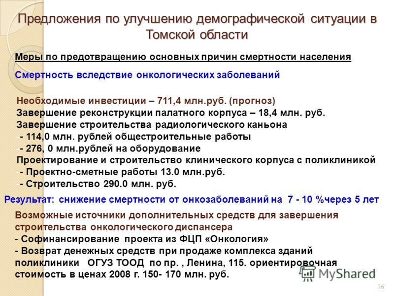 Предложения по улучшению демографической ситуации в Томской области 36 Меры по предотвращению основных причин смертности населения Смертность вследствие онкологических заболеваний Необходимые инвестиции – 711,4 млн.руб. (прогноз) Завершение реконстру
