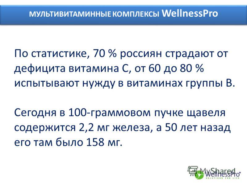 МУЛЬТИВИТАМИННЫЕ КОМПЛЕКСЫ WellnessPro По статистике, 70 % россиян страдают от дефицита витамина С, от 60 до 80 % испытывают нужду в витаминах группы В. Сегодня в 100-граммовом пучке щавеля содержится 2,2 мг железа, а 50 лет назад его там было 158 мг
