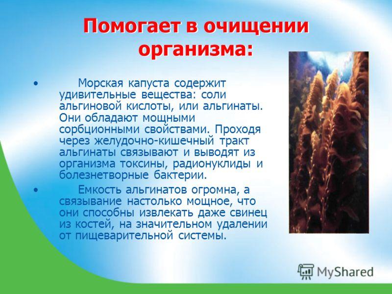 Помогает в очищении организма: Морская капуста содержит удивительные вещества: соли альгиновой кислоты, или альгинаты. Они обладают мощными сорбционными свойствами. Проходя через желудочно-кишечный тракт альгинаты связывают и выводят из организма ток