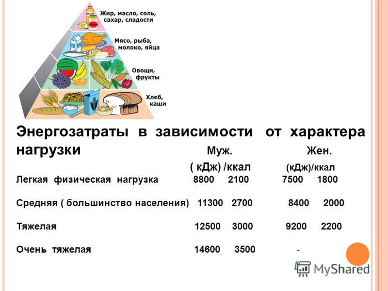 Энергозатраты в зависимости от характера нагрузки Муж. Жен. ( кДж) /ккал (кДж)/ккал Легкая физическая нагрузка 8800 2100 7500 1800 Средняя ( большинство населения) 11300 2700 8400 2000 Тяжелая 12500 3000 9200 2200 Очень тяжелая 14600 3500 -