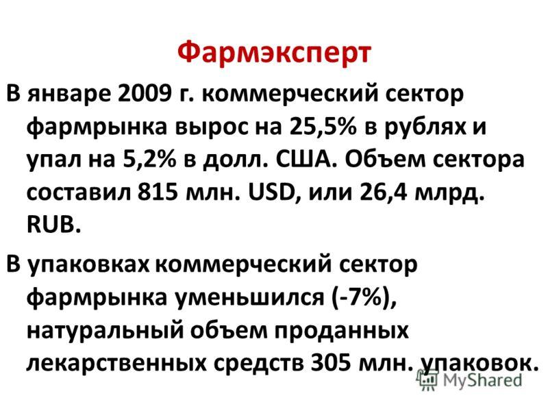 Фармэксперт В январе 2009 г. коммерческий сектор фармрынка вырос на 25,5% в рублях и упал на 5,2% в долл. США. Объем сектора составил 815 млн. USD, или 26,4 млрд. RUB. В упаковках коммерческий сектор фармрынка уменьшился (-7%), натуральный объем прод