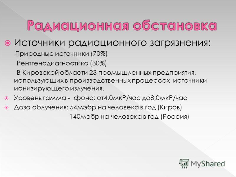 Источники радиационного загрязнения: Природные источники (70%) Рентгенодиагностика (30%) В Кировской области 23 промышленных предприятия, использующих в производственных процессах источники ионизирующего излучения. Уровень гамма - фона: от4,0мкР/час