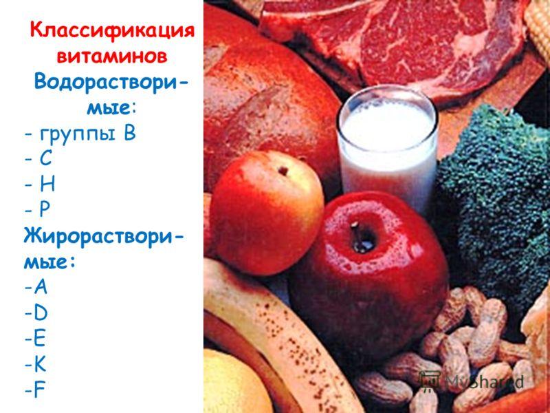Классификация витаминов Водораствори- мые: - группы В - С - Н - Р Жирораствори- мые: -А -D -E -K -F