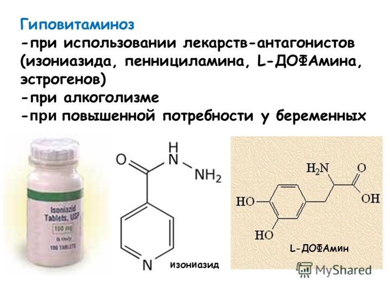 Гиповитаминоз -при использовании лекарств-антагонистов (изониазида, пеннициламина, L-ДОФАмина, эстрогенов) -при алкоголизме - при повышенной потребности у беременных и зон и азид L-ДОФАм и н