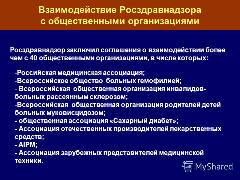 Взаимодействие Росздравнадзора с общественными организациями -Российская медицинская ассоциация; -Всероссийское общество больных гемофилией; - Всероссийская общественная организация инвалидов- больных рассеянным склерозом; -Всероссийская общественная
