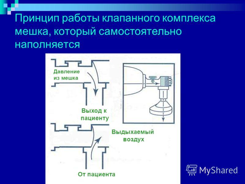 Принцип работы клапанного комплекса мешка, который самостоятельно наполняется Давление из мешка Выход к пациенту От пациента Выдыхаемый воздух