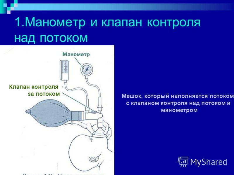 1.Манометр и клапан контроля над потоком Мешок, который наполняется потоком, с клапаном контроля над потоком и манометром Клапан контроля за потоком