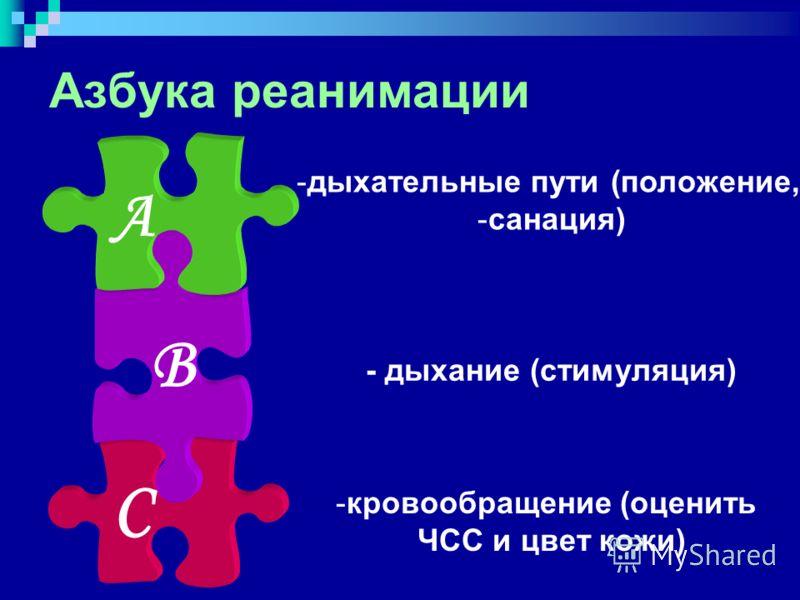 Азбука реанимации -дыхательные пути (положение, -санация) - дыхание (стимуляция) -кровообращение (оценить ЧСС и цвет кожи) А В С