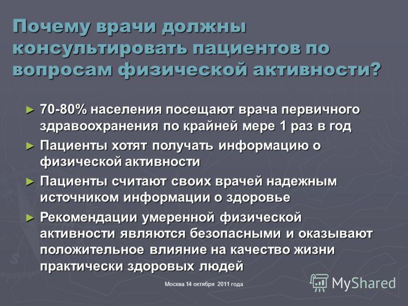 Москва 14 октября 2011 года Почему врачи должны консультировать пациентов по вопросам физической активности? 70-80% населения посещают врача первичного здравоохранения по крайней мере 1 раз в год 70-80% населения посещают врача первичного здравоохран