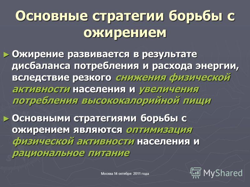 Москва 14 октября 2011 года Основные стратегии борьбы с ожирением Ожирение развивается в результате дисбаланса потребления и расхода энергии, вследствие резкого снижения физической активности населения и увеличения потребления высококалорийной пищи О