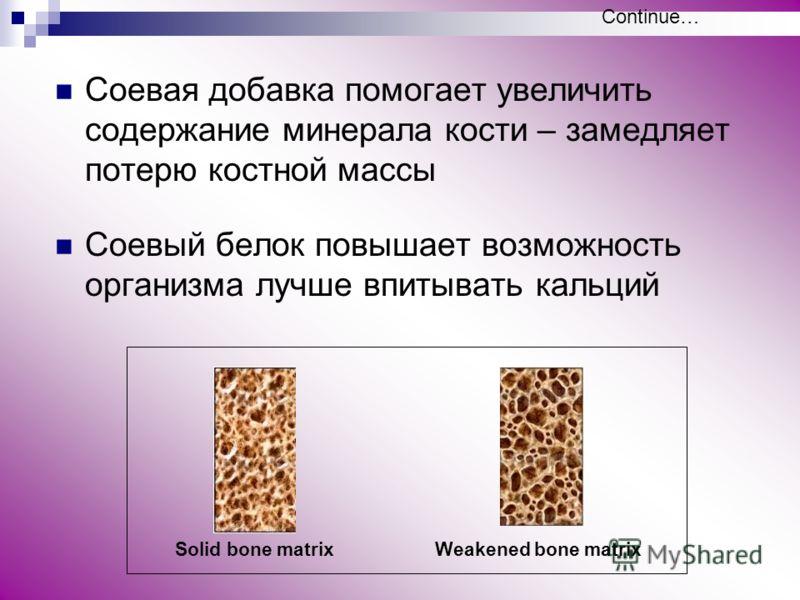 Соевая добавка помогает увеличить содержание минерала кости – замедляет потерю костной массы Соевый белок повышает возможность организма лучше впитывать кальций Solid bone matrixWeakened bone matrix Continue…