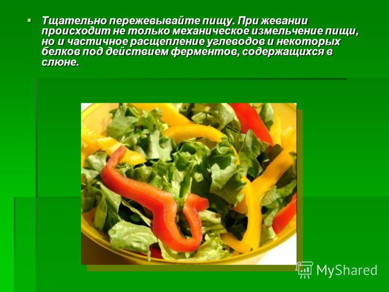 Тщательно пережевывайте пищу. При жевании происходит не только механическое измельчение пищи, но и частичное расщепление углеводов и некоторых белков под действием ферментов, содержащихся в слюне. Тщательно пережевывайте пищу. При жевании происходит