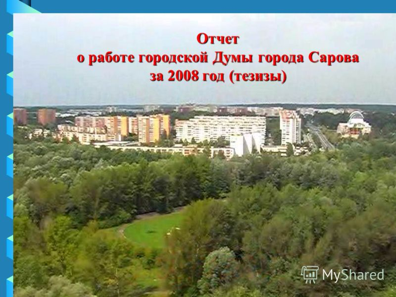 Отчет о работе городской Думы города Сарова за 2008 год (тезизы)