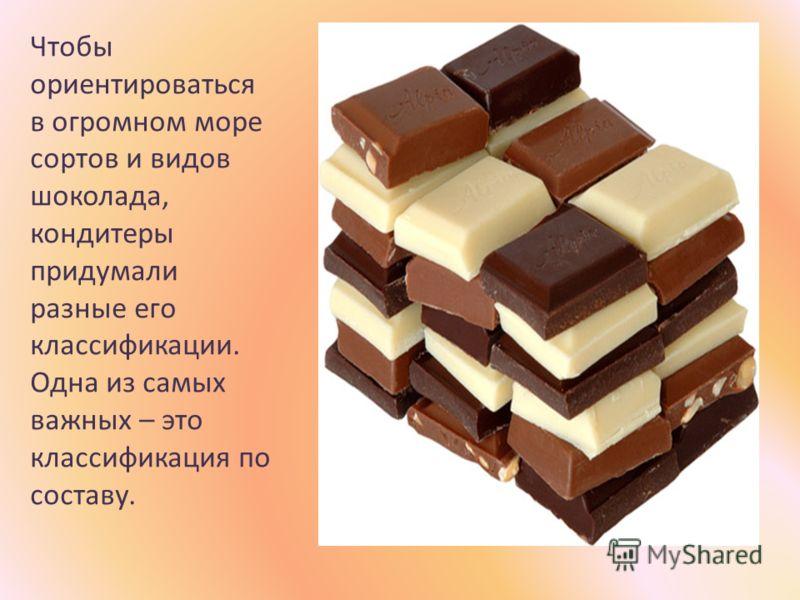 Чтобы ориентироваться в огромном море сортов и видов шоколада, кондитеры придумали разные его классификации. Одна из самых важных – это классификация по составу.
