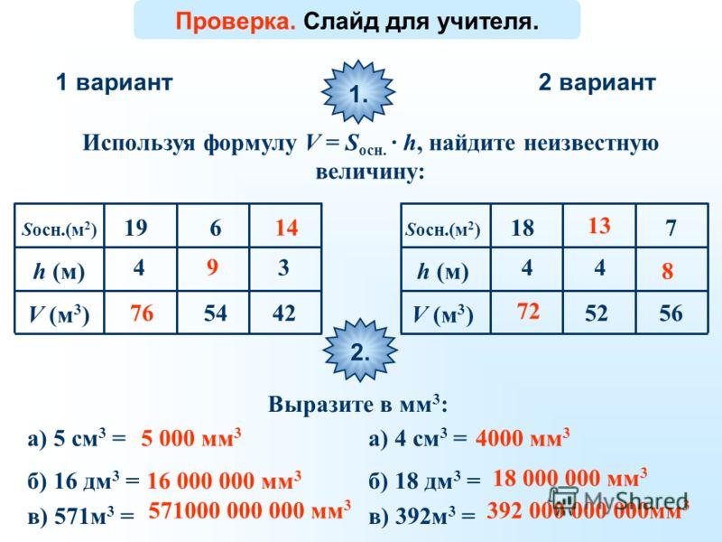 1 вариант2 вариант Используя формулу V = S осн. · h, найдите неизвестную величину: 1. Sосн.(м 2 ) h (м) V (м 3 ) 4 19 54 6 4242 3 76 72 9 1313 1414 8 Проверка. Слайд для учителя. 4 18 52 4 56 7 Sосн.(м 2 ) h (м) V (м 3 ) 2.2. Выразите в мм 3 : а) 5 с