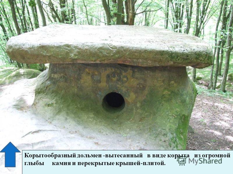Корытообразный дольмен -вытесанный в виде корыта из огромной глыбы камня и перекрытые крышей-плитой..