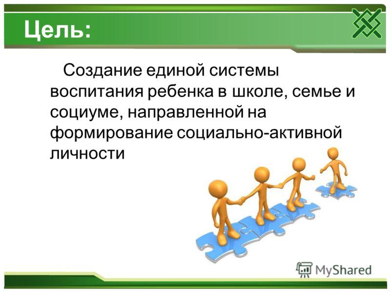 Цель: Создание единой системы воспитания ребенка в школе, семье и социуме, направленной на формирование социально-активной личности