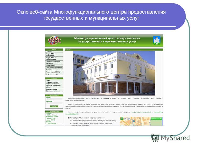 Окно веб-сайта Многофункционального центра предоставления государственных и муниципальных услуг
