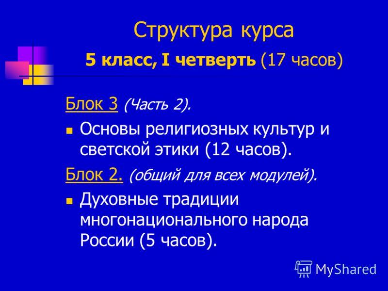 Структура курса 5 класс, I четверть (17 часов) Блок 3 (Часть 2). Основы религиозных культур и светской этики (12 часов). Блок 2. (общий для всех модулей). Духовные традиции многонационального народа России (5 часов).