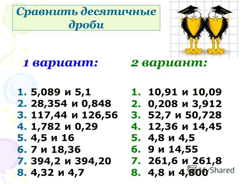 1 вариант:2 вариант: 1. 5,089 и 5,1 2. 28,354 и 0,848 3. 117,44 и 126,56 4. 1,782 и 0,29 5. 4,5 и 16 6. 7 и 18,36 7. 394,2 и 394,20 8. 4,32 и 4,7 1. 10,91 и 10,09 2. 0,208 и 3,912 3. 52,7 и 50,728 4. 12,36 и 14,45 5. 4,8 и 4,5 6. 9 и 14,55 7. 261,6 и