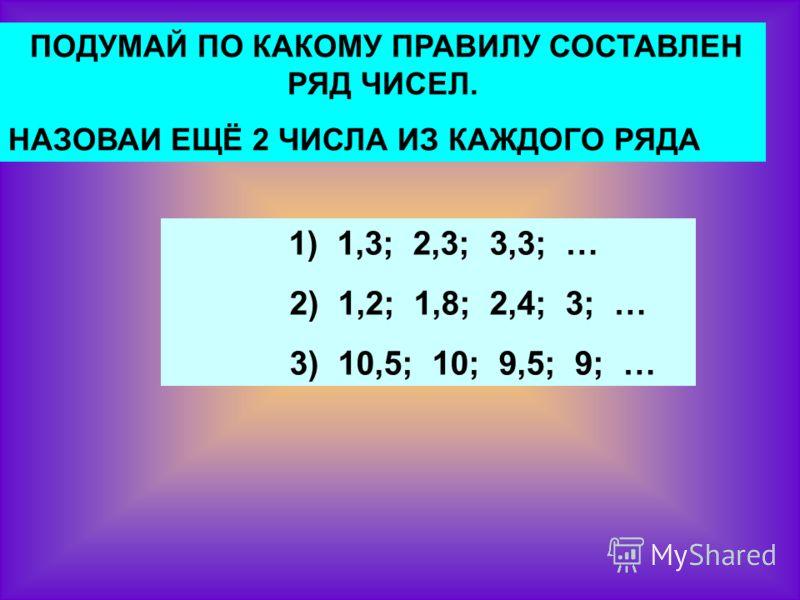 ПОДУМАЙ ПО КАКОМУ ПРАВИЛУ СОСТАВЛЕН РЯД ЧИСЕЛ. НАЗОВАИ ЕЩЁ 2 ЧИСЛА ИЗ КАЖДОГО РЯДА 1) 1,3; 2,3; 3,3; … 2) 1,2; 1,8; 2,4; 3; … 3) 10,5; 10; 9,5; 9; …