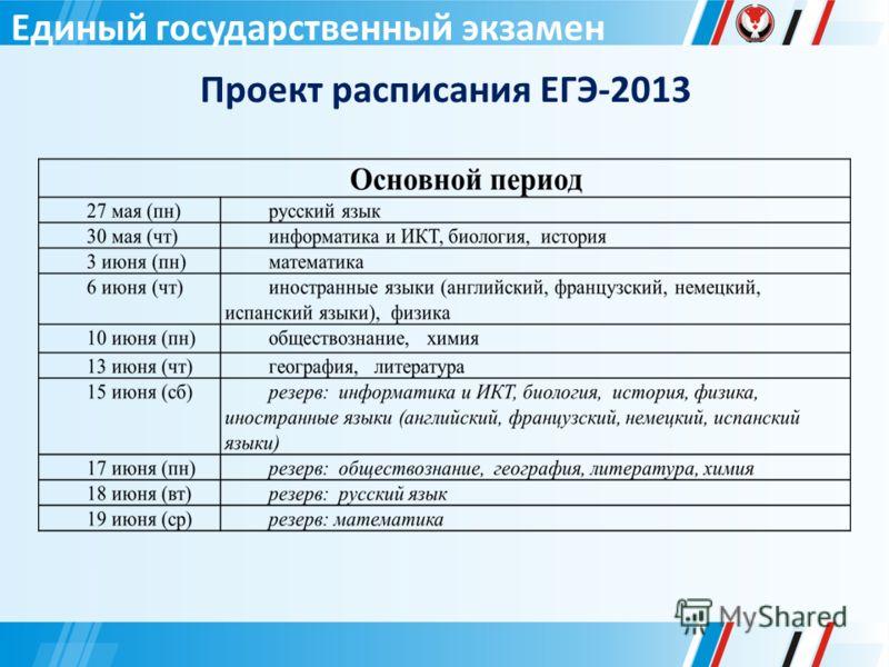 Единый государственный экзамен Проект расписания ЕГЭ-2013