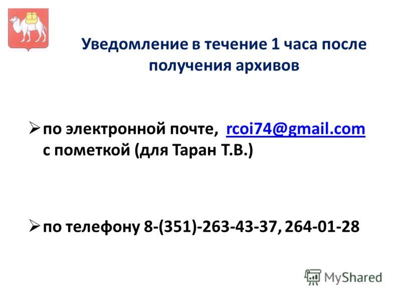 Уведомление в течение 1 часа после получения архивов по электронной почте, rcoi74@gmail.com с пометкой (для Таран Т.В.)rcoi74@gmail.com по телефону 8-(351)-263-43-37, 264-01-28
