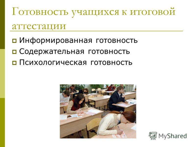 Готовность учащихся к итоговой аттестации Информированная готовность Содержательная готовность Психологическая готовность