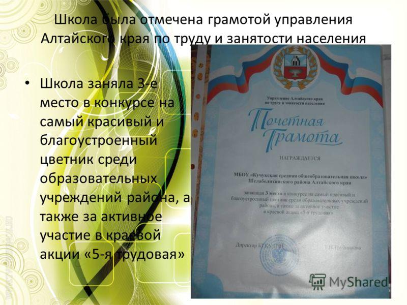 Школа была отмечена грамотой управления Алтайского края по труду и занятости населения Школа заняла 3-е место в конкурсе на самый красивый и благоустроенный цветник среди образовательных учреждений района, а также за активное участие в краевой акции